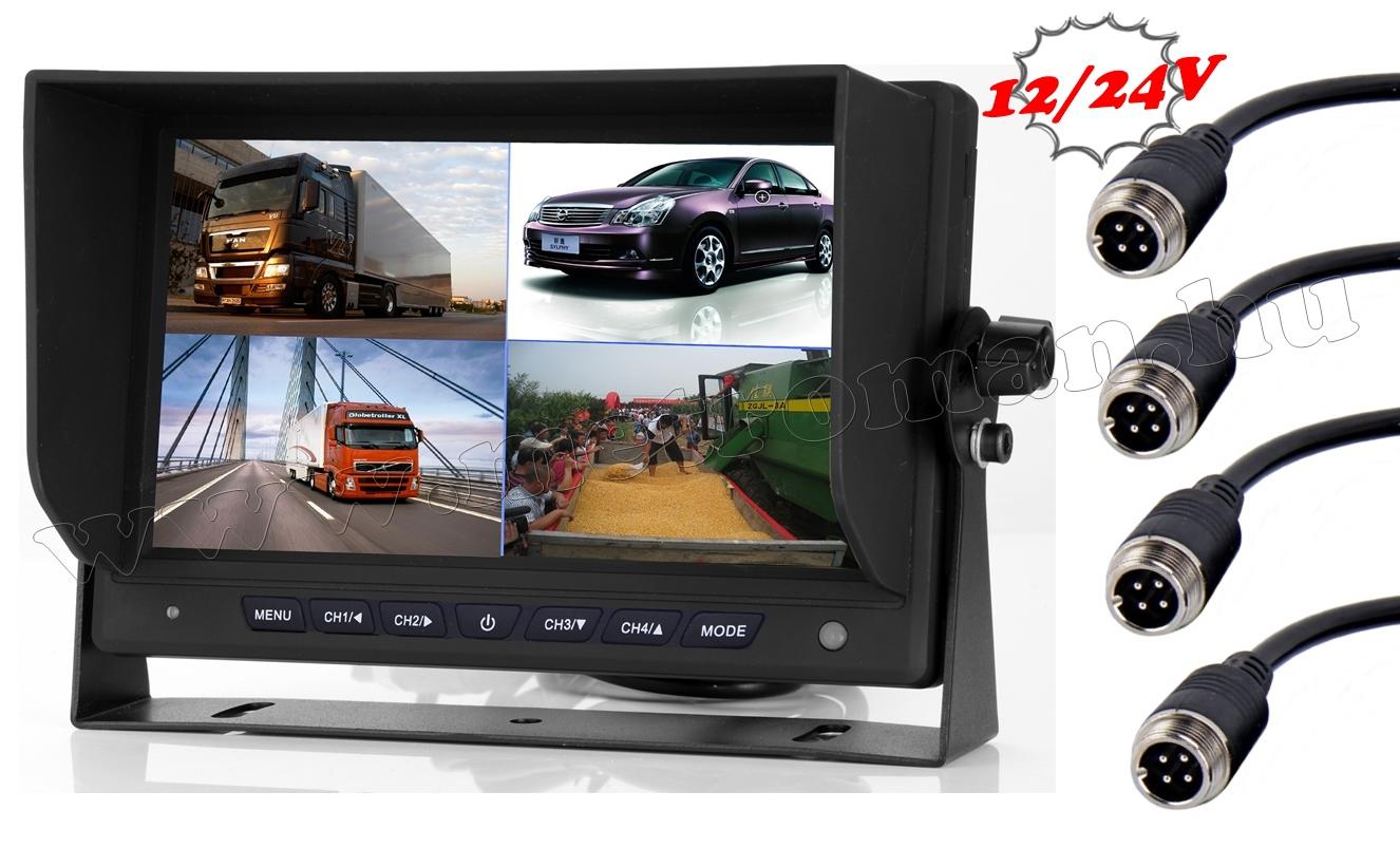 Ipari kivitelű autó, kamion, busz, munkagép LCD monitor tolatókamerához MM7008-QUAD 12/24V