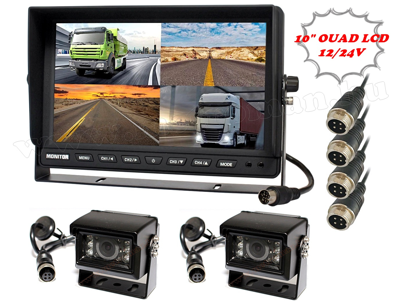 "Kamion, teherautó, targonca, munkagép ipari 2 kamerás tolatókamera szett 10"" LCD QUAD LCD monitorral MM1000-QUAD-MT554X2"