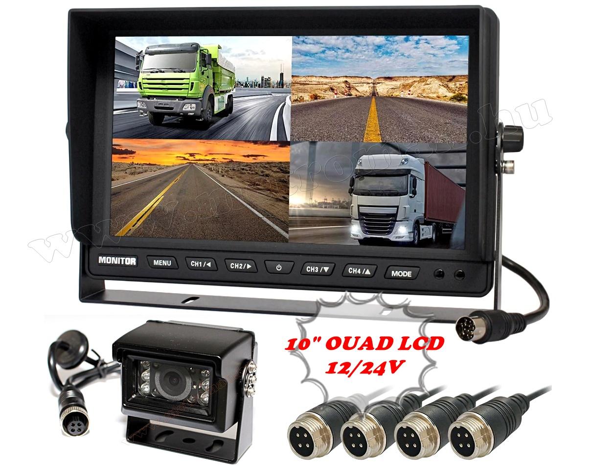 """Kamion, teherautó, targonca, munkagép ipari tolatókamera szett 10"""" LCD QUAD LCD monitorral MM1000-QUAD-MT554"""