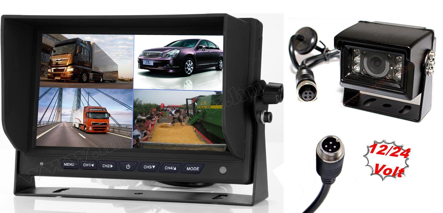 """Kamion, teherautó, targonca, munkagép ipari tolatókamera szett 7"""" LCD QUAD LCD monitorral MM7008-QUAD-MT554"""