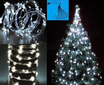 Karácsonyi kültéri LED égősor, 10 ágú csokor Fényfüzér,  ML 250/WH Hideg Fehér