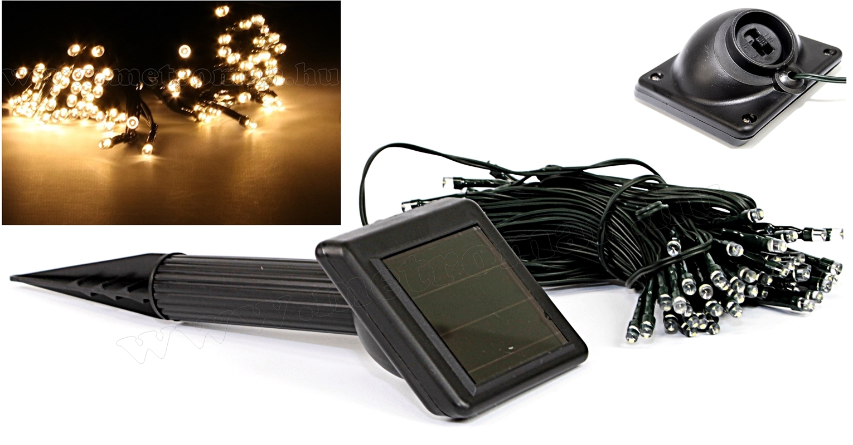 Napelemes Karácsonyi LED égősor, Kerti Fényfüzér, Kültéri, M7615/100WW Meleg Fehér