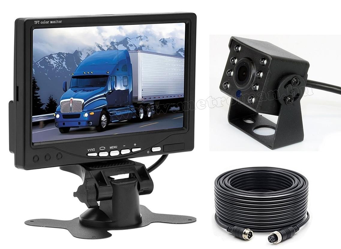 "Tolatókamera szett 7""-os LCD monitorral MM1101 12/24 Volt"