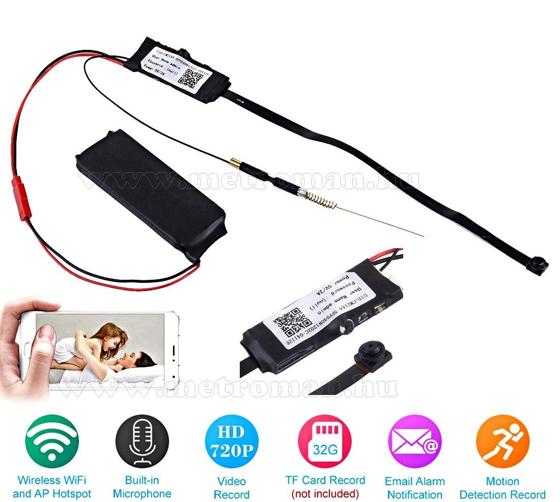 Extra Mini, Rejtett, Beépíthető SD kártyás DVR Wifi P2P IP biztonsági megfigyelőkamera, Mlogic MM6 HD