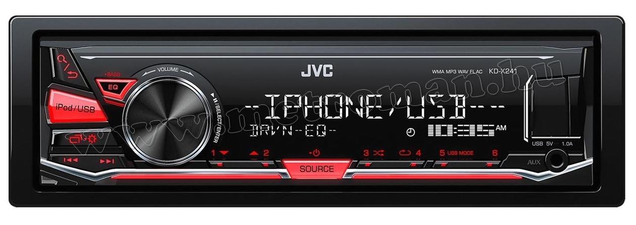 MP3/WMA/WAV/FLAC autórádió JVC KD-X241