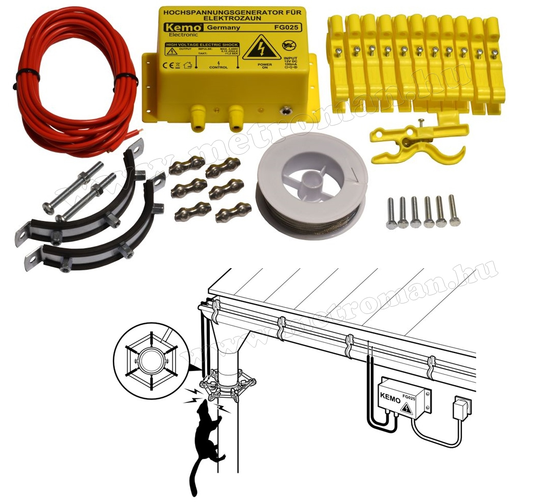 Elektromos nyestriasztó, nagyfeszültségű védőkerítés szett esőcsatornára FG025SET