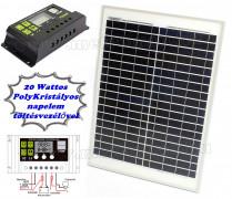 12V 20 Watt napelemes töltő szett töltésvezérlővel Poly Solar FG-20W-10A-PWM