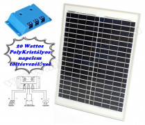 12V 20 Watt napelemes töltő szett töltésvezérlővel Poly Solar FG-20W-5A-PWM-R