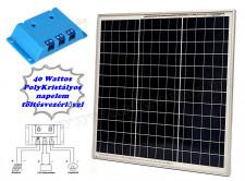 12V 40 Watt napelemes töltő szett töltésvezérlővel Poly Solar MP-40W-5A-PWM-R
