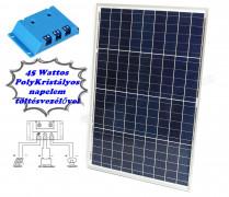 12V 45 Watt napelemes töltő szett töltésvezérlővel Poly Solar FG-45W-5A-PWM