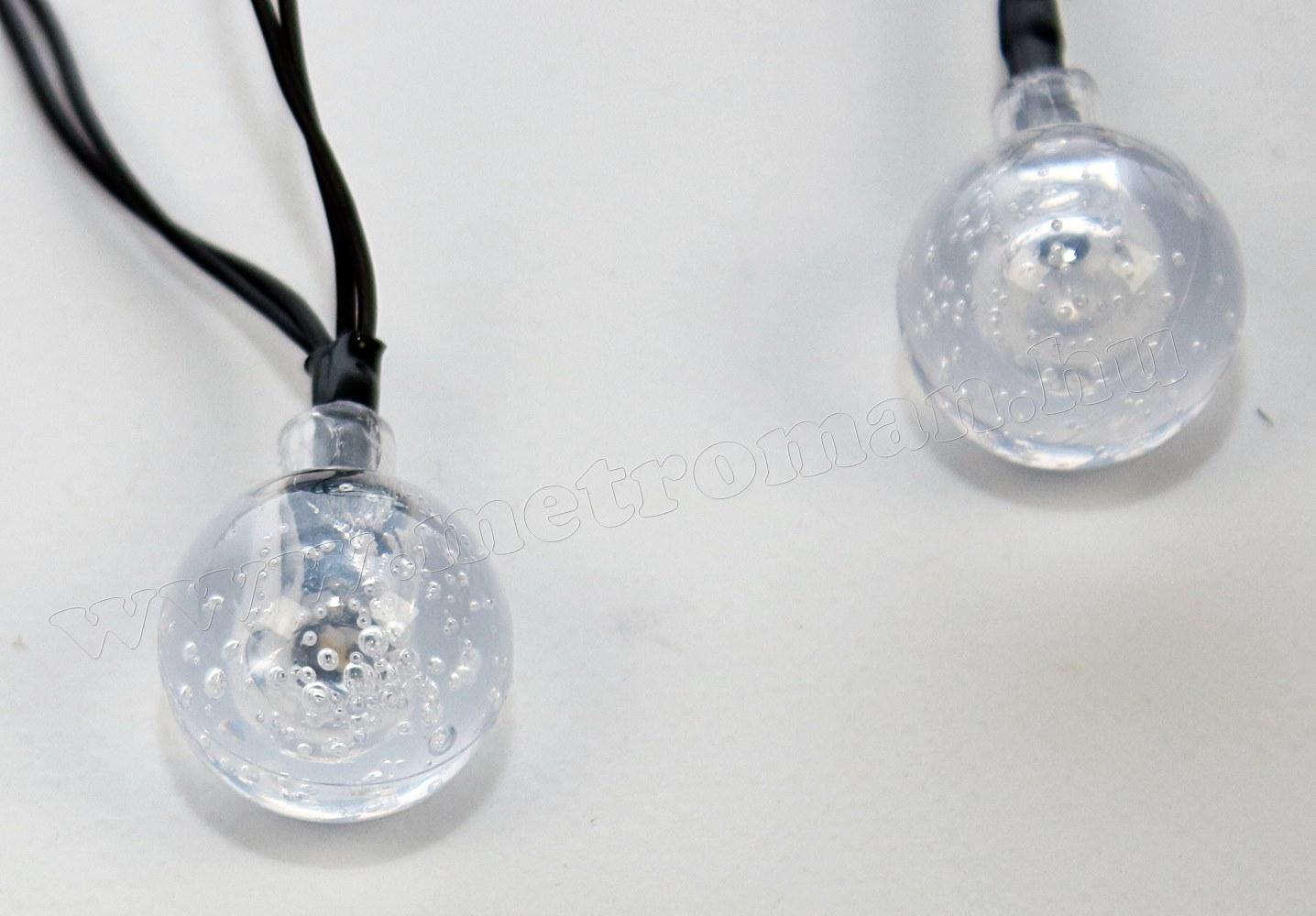 Napelemes Karácsonyi LED égősor, Kerti Fényfüzér, Kültéri, NLED30GMF Meleg Fehér Gömb
