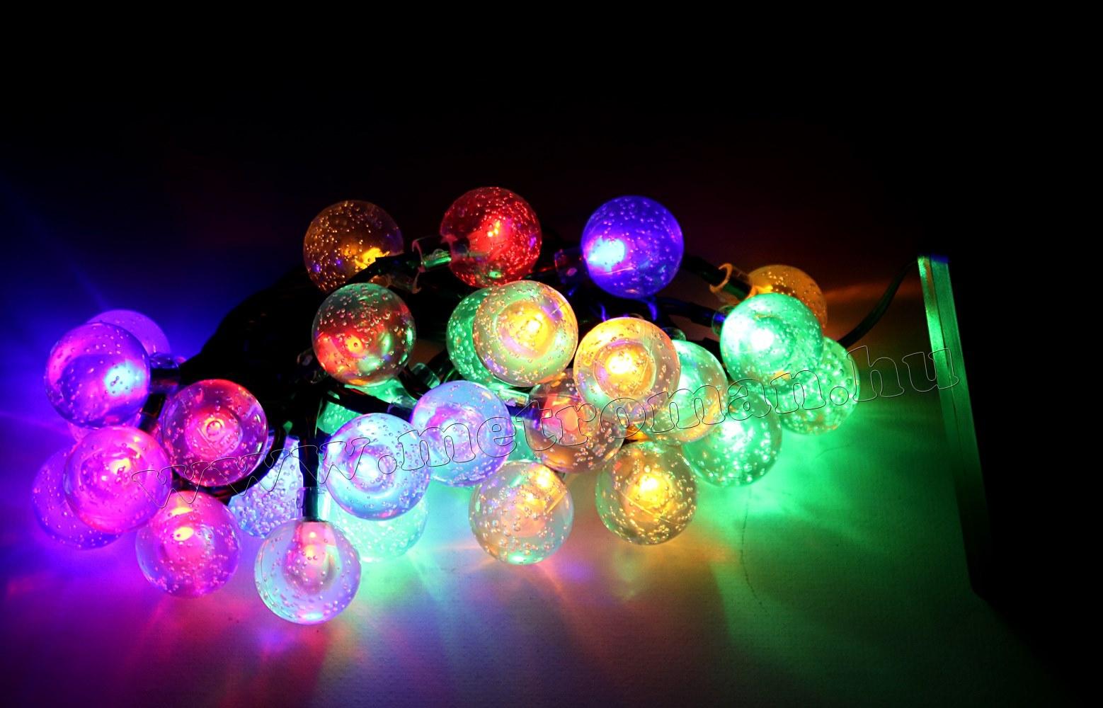 Napelemes Karácsonyi LED égősor, Kerti Fényfüzér, Kültéri, NLED30GSZ Színes Gömb