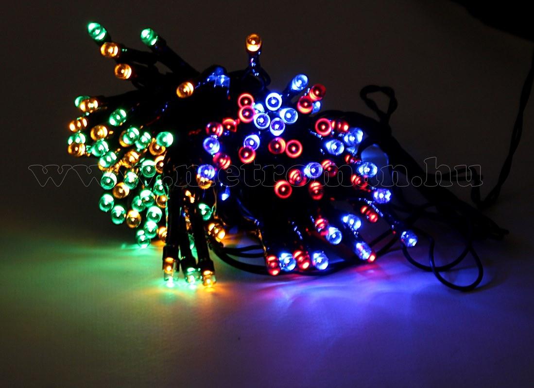 Napelemes Karácsonyi LED égősor, Kerti Fényfüzér, Kültéri, Cole & Bright Dual Power 100LED Színes