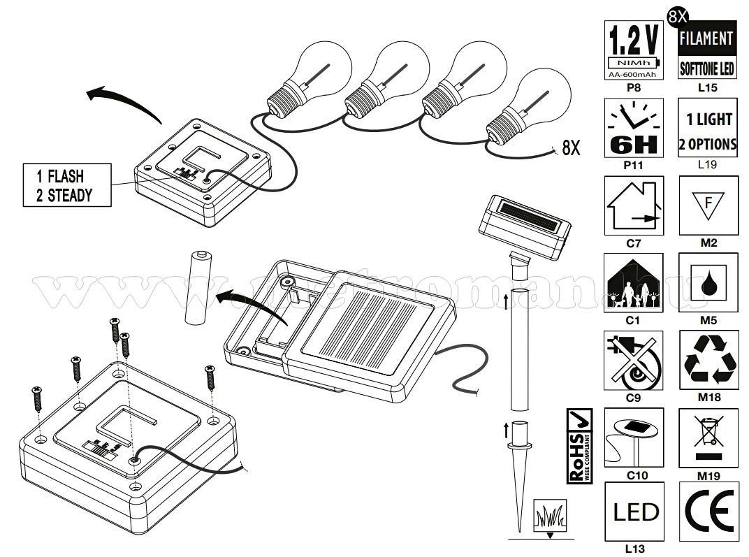 Napelemes kültéri kerti Retro LED fényfüzér és hangulat világítás Luxform Marbella Solar