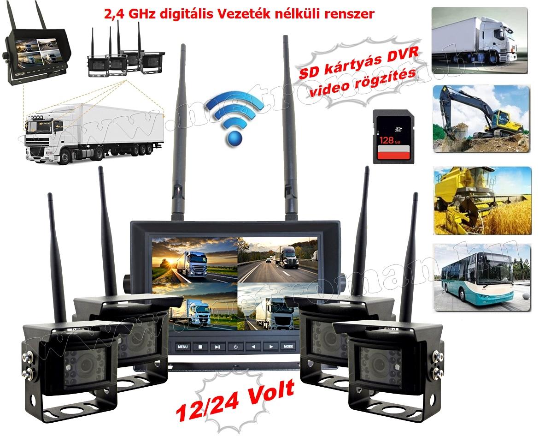 """Digitális vezeték nélküli tolatókamera 4 kamerás szett 7""""-os HD LCD monitorral MM7008WDigital-4-DVR-QUAD 12/24 Volt"""