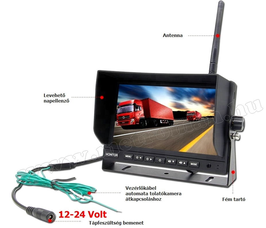 """Digitális vezeték nélküli tolatókamera szett 7""""-os HD LCD monitorral MM7008WDigital-1 12/24 Volt"""