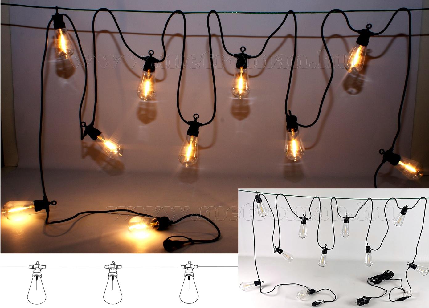 Retro körte izzó formájú, kültéri LED fényfüzér Luxform Hawaii