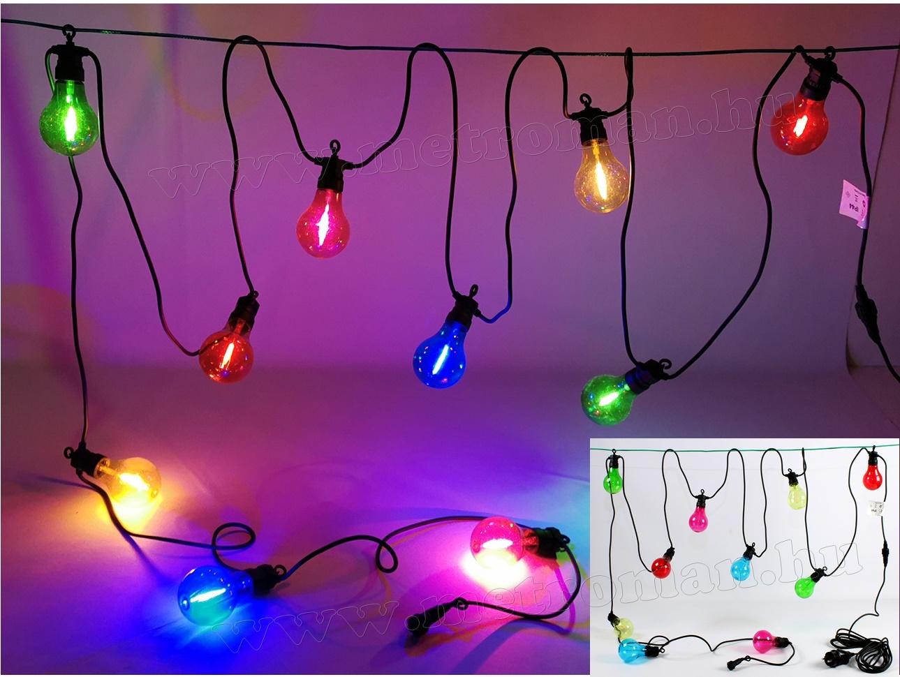 Retro gömb izzó formájú, kültéri LED fényfüzér Luxform Maui