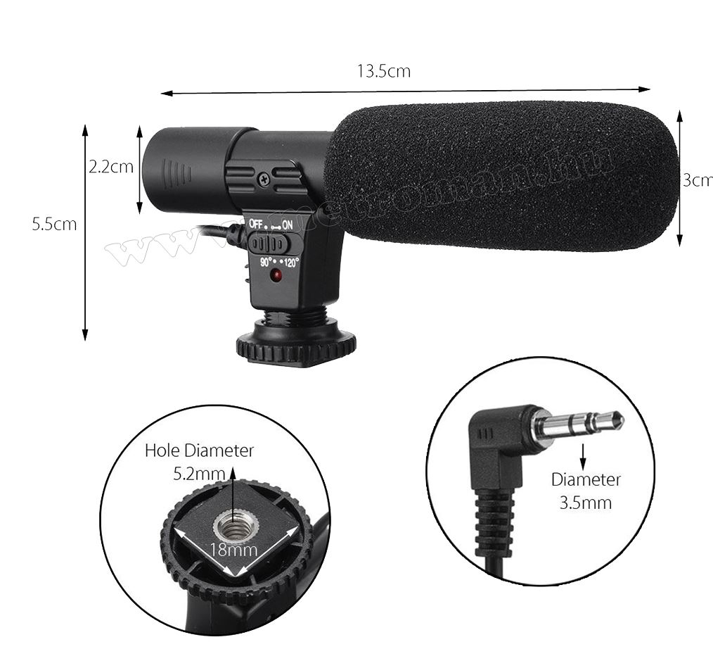 Sztereó mikrofon videó kamerához és DSLR fényképezőhöz MP6010