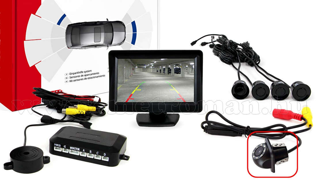 Tolatóradar és tolatókamera szett LCD monitorral MM2260-HD305