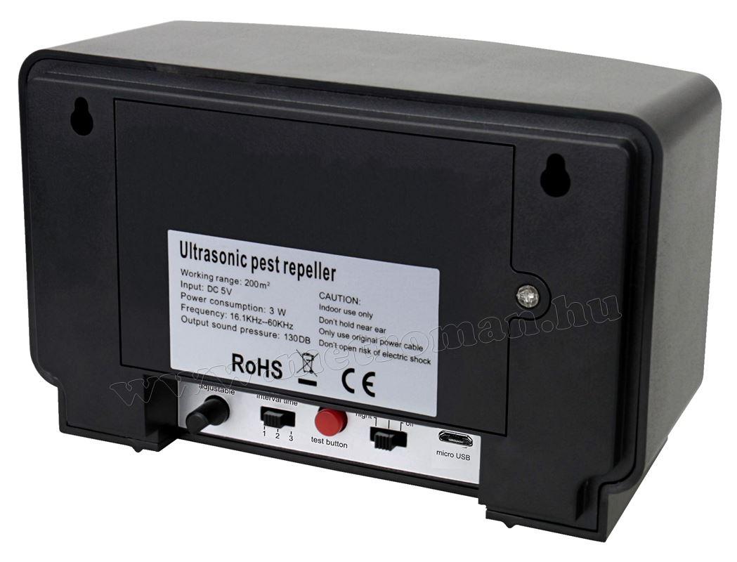 Elektromos ultrahangos nyest, patkány, egér riasztó Mlogic MultiDual MA368