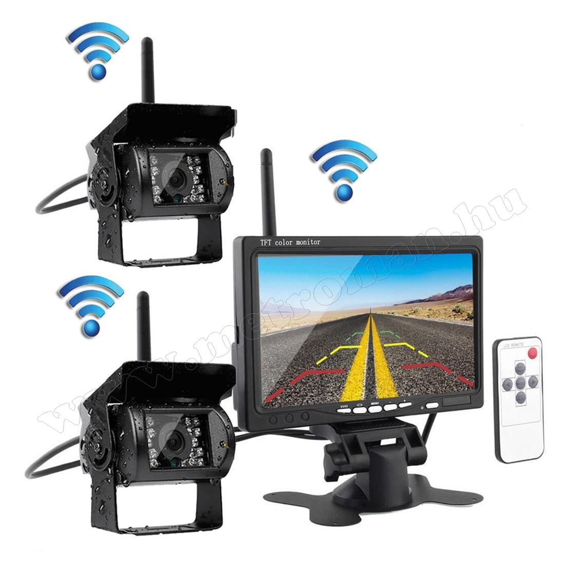 """Vezeték nélküli kétkamerás tolatókamera szett 7""""-os LCD monitorral MM-3475 12/24 Volt"""