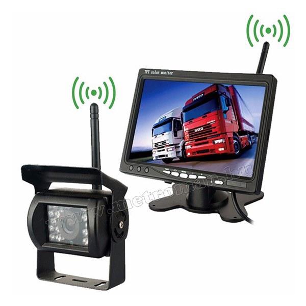 """Vezeték nélküli tolatókamera szett 7""""-os LCD monitorral MM-4202 12/24 Volt"""