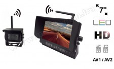 """Vezeték nélküli tolatókamera szett 7""""-os HD LED monitorral MM-712W 12/24 Volt"""