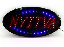 Világító LED Nyitva tábla Ovális