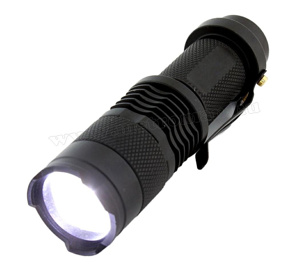 Fémházas Zoom LED kézi elemlámpa MD75