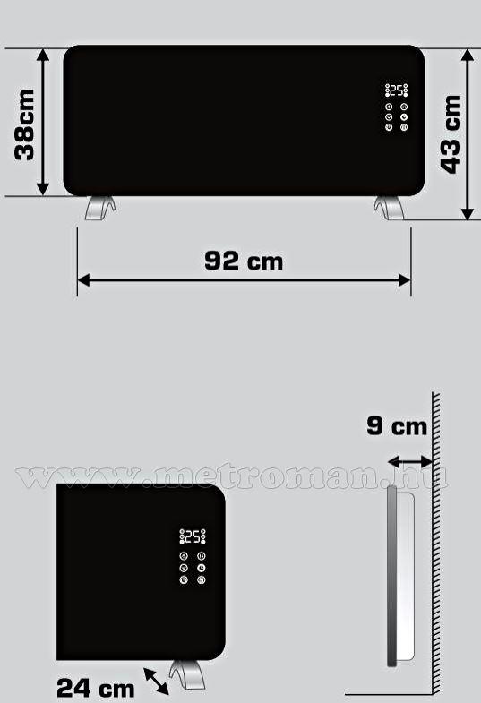 Android iPhone Okos telefonról kapcsolható elektromos fűtőtest FK 430 Smart WIFI